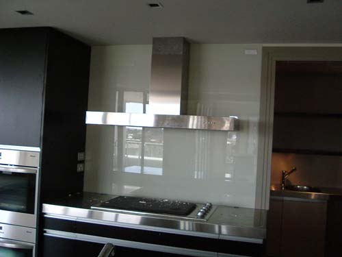 Painted glass - Glass wall panels kitchen ...